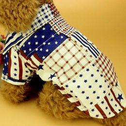 venta al por mayor ropa de la camiseta del perro Rebajas Camiseta de perro de la bandera de la camiseta de algodón precioso gato ropa para mascotas chaleco traje de ropa para perros pequeños Mascotas suministros de mascotas al por mayor