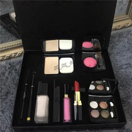 Wholesale eyeliner palette - luxury brand 9 piece set Foundation powder Blush with brush Liquid foundation lipstick lipgloss eyeshadow palette eyeliner 9 in 1 makeup set