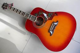 2019 halb hohle körper bassgitarre Kostenloser Versand Gibsondove Modell Dove Akustische E-gitarre Aus Massivem Ahorn Tanne Top, Hohe Qualität In Cherry Burst 120130