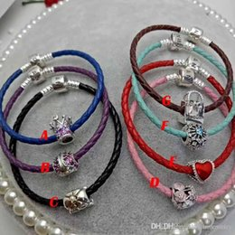 Wholesale Vintage Sterling Chain - 2017 popular gifts leather bracelets wedding gifts vintage leather sterling silver 925 brand jewelry full package