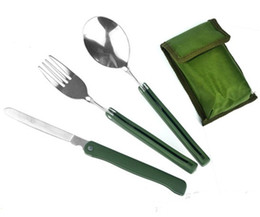 Wholesale Stainless Steel Cutlery Pieces - Portable Outdoor Camping Kitche Cutlery Folding Knife Fork Spoon Three Piece Set Dishware Picnic Hiking Convenient Tableware 5zl Y