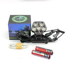 Wholesale cree t6 led headlight - USB 20000 Lumens Ultra Bright 7 LED Headlamp Rechargeable 5*T6 Waterptoof Head Flashlight Torch Cree XML T6 Headlight For Camp+18650 battery