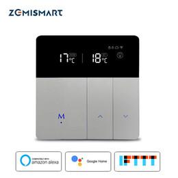 2019 controlador de temperatura inteligente Termostato de calefacción por suelo radiante eléctrico con Alexa Google Controlador de temperatura externo inteligente de control de WIFI 20A 200-240V controlador de temperatura inteligente baratos