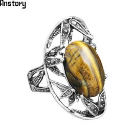 Wholesale Tiger Stone Rings - whole saleOval Natural Tiger Eye Stone Rings For Women Vintage Leaf Plant Rhinestone Antique Silver Plated Fashion Jewelry
