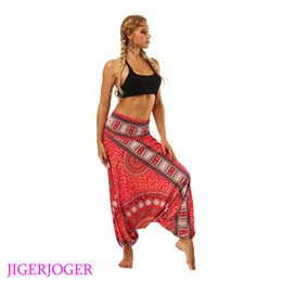Wholesale galaxy style leggings - JIGERJOGER 2018 Red galaxy floral Yoga leggings lounge pant Bloomers Thailand style wide leg loose pants beach wear pantaletters