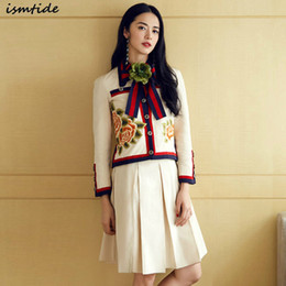 Wholesale Women Flower Blazer - 2017 Twin Set New Autumn Winter Twin Sets 2 Piece Set With Skirt Suits Top Short Pleated Skirts Embroidery Flower Big Size XXL
