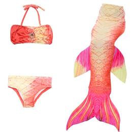 Kind bikini rot online-3 Stück Mädchen Kinder Kinder Meerjungfrau Schwanz Swimmable Bikini Set Red Mermaid Tails Kostüm Badeanzug Badeanzug Cosplay Kostüm