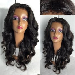 Wholesale High Temperature Fiber Wigs - Long Loose Body Wave Synthetic Lace Front Wigs Middle Part For Woman Natural Black Hair Wigs Brazilian High Temperature Fiber Swiss Lace