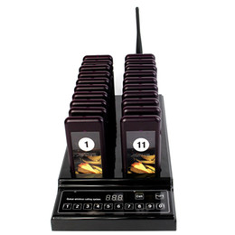999 Channel Wireless Paging Queuing Calling System with 20 Call Coaster Pager+1 Keypad Transmitter for Restaurant Food Court Coffee Shop