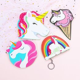 Wholesale card stock types - Cartoon Unicornio Purse New Designer Coin Wallet Portable Cute Unicorn Girl Zipper Card Bag Many Styles 4 8smb XC