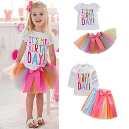 baby tutu shorts Australia - Baby Girls Birthday Party Outfit Set Letters T-shirt + Colorful Rainbow Tutu Skirts Children Kids Clothing Long Sleeve Short Sleeve 2 Design