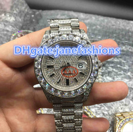 Wholesale Flapper Style - Silver big diamond flapper luxury men's watch all ice hip hip-hop rap style diamond watches double calendar timed mechanical watches