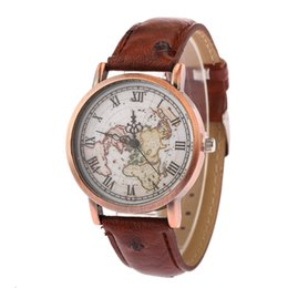 Wholesale World Map Wrist Watch - 2016 Newest women leather world map watch vintage men map printing watches ladies casual dress quartz wrist watches for women mens 100pcs