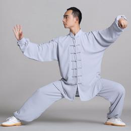 Wholesale Suit Wushu - Unisex cotton+silk Wushu Traditional Chinese Clothing KungFu Uniform Suit Uniforms Tai Chi Morning Exercise Performance Wear