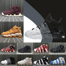 Wholesale Leather Shoes For Men - [With Box] New Air more 96 QS Olympic Varsity Maroon Mens Basketball Shoes for men Airs 3M Scottie Pippen Uptempo Sports Sneakers 8-13