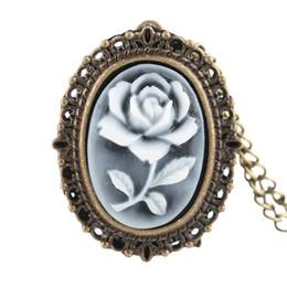Wholesale rose pocket watch - White Rose Flower Pattern Bronze Retro Necklace Pendant Quartz Digital Pocket Watch Gifts For Elegant Women
