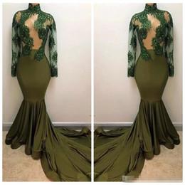 vestidos de baile verde do exército Desconto 2018 Formal Exército Verde Alta Pescoço Sereia Vestido de baile ilusão Mangas Compridas Lace Beading Vestidos de Festa de Celebridades Magro Robe De Soirée Personalizado