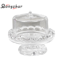Wholesale Doll Ceramic - Dongzhur Miniaturas Dolls House Furniture Transparent Glass Dessert Fruit Tray Dollhouse Miniatures 1:12 Accessories