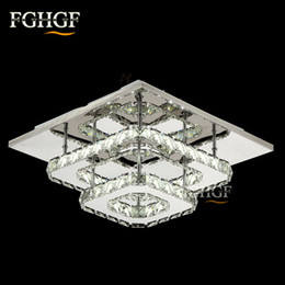Wholesale square crystal ceiling lamp led - Modern LED Ceiling light Square Crystal Lustre Luminarias Para Sala led lamps for home aisle corridor balcony kitchen fixtures