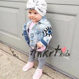 2019 niños de pintura de arena Enfriar 6 unids / lote bebé niñas abrigo niños niños de manga larga chaqueta de la muchacha del dril de algodón Denim 1-5T compras libres