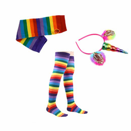 Wholesale Dancing Gloves - kids Rainbow Tutu Suit Party Princess Dance Dress s with Unicorn Horn Headband leggings socks gloves Set Kids Birthday Photo Prop KKA4376