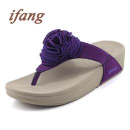Wholesale Flower Tie Backs - Wholesale-ifang Women Wedges Shoes Flip Flops Woman Summer Beach Flip Flops Big Size Flowers Women Sandals Women's Thong Shoes