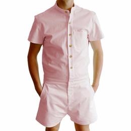 2019 camicie uomo Camicia di lino da uomo ecologica unica pagliaccetto estiva Set corto Pantaloncini monopetto Tuta moda Tuta Pantaloni cargo casual sconti camicie uomo