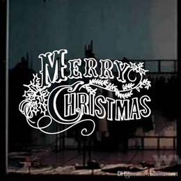 carta da parati rosa nera del fiore Sconti Adesivi murali di Natale Decorazione soggiorno camera da letto finestra adesivi murali in vetro adesivi decorativi rimovibili Red Black White Letter