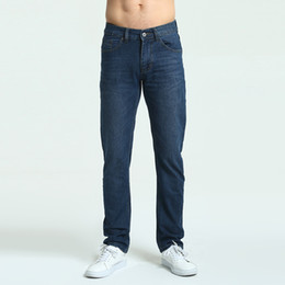 d7466175d10 Jeans Mens Brand High Quality Stretch Blue Denim Jeans Fashion Pleated  Pocket Trousers Pants Size 30 32 33 34 36 38 40