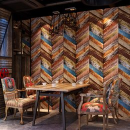 Wholesale Wall Textures Modern - Vintage Wallpaper Modern 3D Embossed Imitation Wood Texture Wall Paper Rolls For Walls Restaurant Cafe Background Wall Cocvering