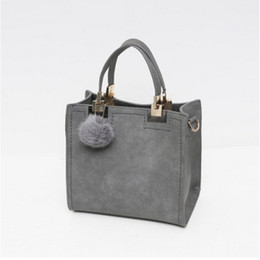 Wholesale Red Shops - Women Brand Top-Handle Bags Leather fashion Handbags Large Solid Shopping Tote With Tassel Fur Ball Shoulder Bag Messenger Bags