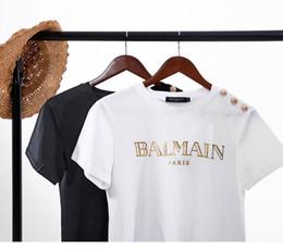 Canada 2019 Été Nouvelle Conception De Luxe Épaule Or Boucle Estampage À Chaud Or Lettre Noir Blanc À Manches Courtes Coton Col Rond T-shirt Pour Les Femmes Offre