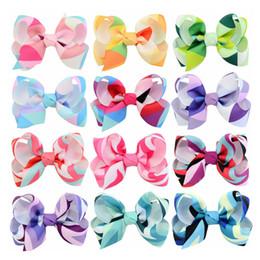 2019 ruban rose Papillon vague impression bande bow boutique arcs cheveux accessoires cadeaux bébé gradient filles grande fleur barrette ruban bowknot pinces à cheveux promotion ruban rose