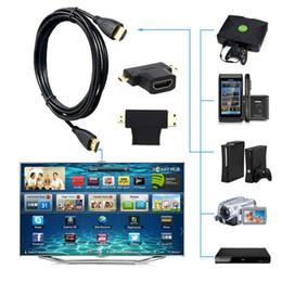2019 teléfonos celulares de tv al por mayor Venta al por mayor- Cable de 1,5 m 3 in1 HD de alta velocidad HDMI a Mini / Micro Cable adaptador HDMI para PC TV Teléfono celular teléfonos celulares de tv al por mayor baratos