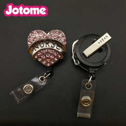 Wholesale Id Badge Reel Rhinestone - 5pcs Pink Heart Retractable Badge Reel Student Nurse Exihibiton ID Name Card Badge Holder Office Supplies