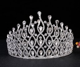 Wholesale Crowns Pageants Beauty - 2018 Luxury bride wedding party rhinestone crystal big crown tiara Beauty pageant princess crystal Headwear jewelry