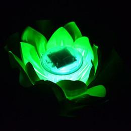 Wholesale Led Floating Lanterns - LED Solar Lotus Water Lily Lantern Waterproof Float Light LED Floating Yard Pond Garden Pool Wishing Night Light ZA5596