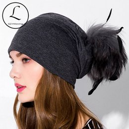 83788592d84 Real Fur Pom Pom Hat women Autumn Winter cotton solid Beanies Fur Ball Cap  Ladies Natural Raccoon Pompom Hat with Feather