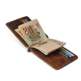 Wholesale Leather Cash Clip - Thin Billfold Vintage Wallet Men Money Clips Genuine Leather Clamp for Money Holder Credit Card Case Cash Clip 12 Card Pocket
