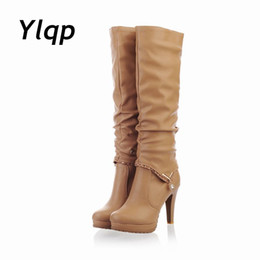 Wholesale Women Wearing Boots - 2 Kinds Wearing Ways Women Leather Boots Knee-High Boots Waterproof Plantform High Heels Boots Women Shoes botas zapatos mujer