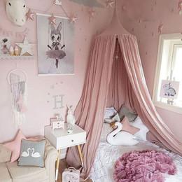 Hochwertig Betten Für Mädchen Zimmer Rabatt Nette Nordische Stil Mädchen Bettwäsche  Runde Dome Bett Baldachin Baumwolle Leinen