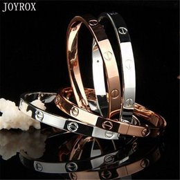 titanium bangle rose gold Coupons - whole saleJOYROX 2017 Fashion Rose Gold Silver Bracelet For Women Charm Titanium Lover Wedding Party Bracelets&Bangles Pulseiras Jewelry