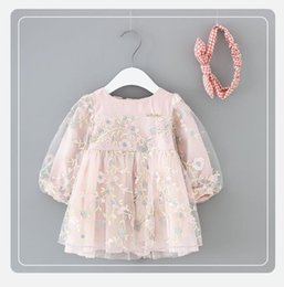Wholesale toddler dance dresses - girls dresses Embroidered flower girls dress long sleeve lace gauze toddler clothing new princess dress floral party dance wear pink A9768