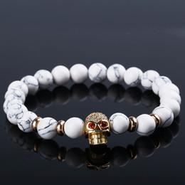 eb1e2d00d145 2019 cuerda de oro blanco Moda Natural de Piedra Blanca Pulsera de Cuentas  de Oro Cráneo