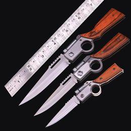 2020 cuchillos ak47 AK47 Cuchillo de pistola Cuchillo plegable de bolsillo 440 Hoja Mango de madera Cuchillos tácticos de supervivencia para acampar con luz LED al aire libre Herramienta EDC cuchillos ak47 baratos