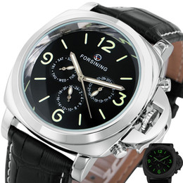 Wholesale Sub Watch Automatic - Hot Classic Men's Watch 2017 Multi-function Automatic Mechanical Wristwatches Brand Luxury 3 Sub-dials Black Concise Dial +BOX