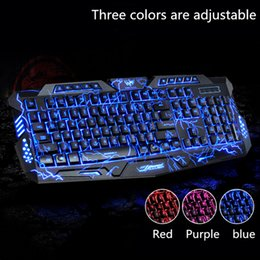 Wholesale Wired Backlit Keyboard - Gaming Keyboard with Backlit LED Switch Gaming Keyboard 3 Backlight Modes USB Wired Powered 19 Keys Conflict