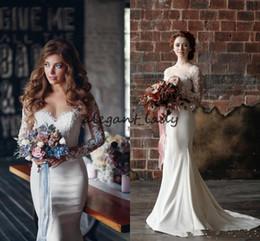 b8961b7876d Vintage Lace Mermaid Wedding Dresses Long Sleeves 2018 Illusion Appliques  Sheer Bridal Gowns Rustic wedding guest dress