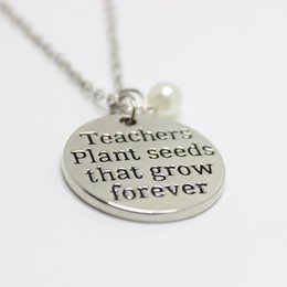 "Wholesale Teachers Day Gifts - 12pcs lot new arrive Teacher's Necklace Teacher Appreciation Gifts""Teachers plant seeds that grow forever"" Necklace Christmas Gift"
