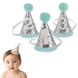 Wholesale Cute Babies Children Photo - Cute 1 2 3 Boys Girls Birthday Hats Dot with Hairball Caps Baby Shower Birthday Cake Caps Party Photo Props Children Party Decor